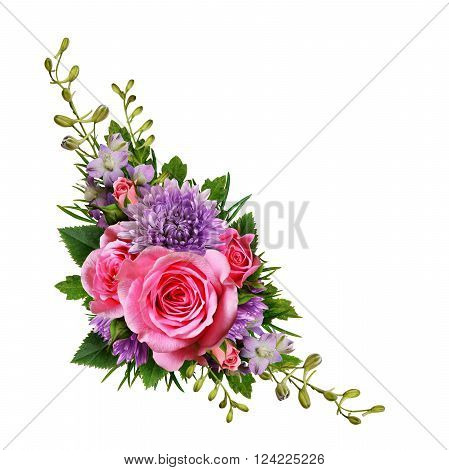 Aster and rose flowers corner arrangement isolated on white