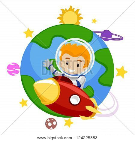 Vector Illustration of a Rocket with a Kid Leaving the Earth