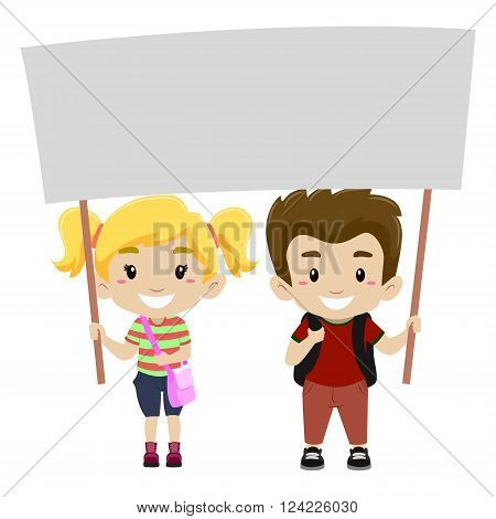 Vector Illustration of a Kids Holding a Blank Signage