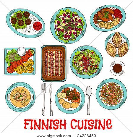 National finnish cuisine dishes with smoked salmon and vegetables, rice and fish rye pies, sausages and meatballs with berry jam, cabbage and reindeer stews, salads with apples, cheese and cloudberries, soup and coffee