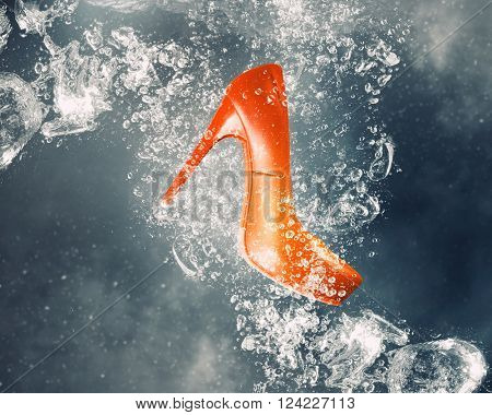 Shoes under water