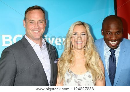 LOS ANGELES - APR 1:  Matt Iseman, Kristine Leahy, Akbar Gbaja-Biamila at the NBC Universal Summer Press Day 2016 at the Four Seasons Hotel on April 1, 2016 in Westlake Village, CA