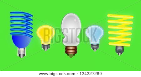 the Five light bulbs against green background