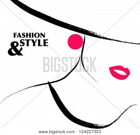 Vector hand drawn portrait of young girl face isolated on white background. Lady fashion style. Woman in hat. Good for magazine cover, journal article, print, package design, shop and store logo.