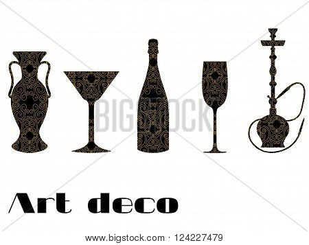 Icons with engraving. Gold ornament on a black background. Wineglass vase bottle of champagne stakes. In the style of Art Deco.