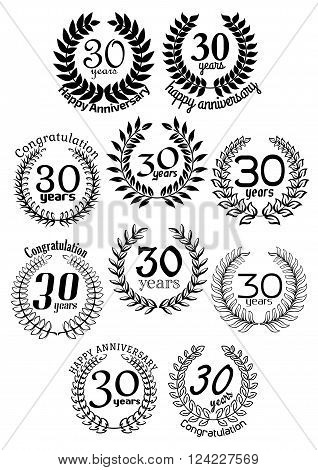 30 Years anniversary laurel wreaths framed by black branches with captions Happy Anniversary or Congratulation. Jubilee and invitation, greeting card or holiday decoration design elements
