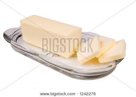 Butter In Glass Butter Dish