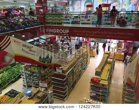 Hanoi, Vietnam - Apr 4, 2016: Indoor view of consumer goods talls at a Vinmart supermarket in Hanoi capital. Vinmart is and retailer brand of Vingroup - a biggest Vietnamese corporation.