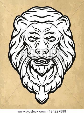 Lion head door knocker Vintage style. Vector illustration.