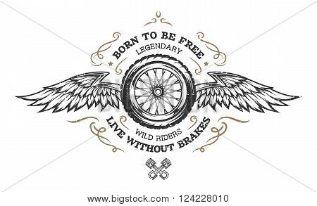 Wheel and wings in vintage style. Emblem, symbol, t-shirt graphic.