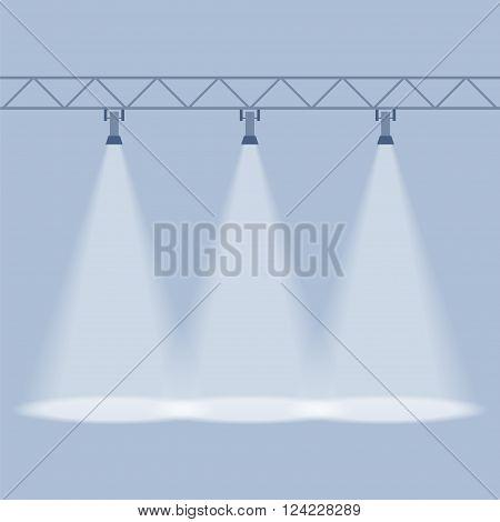 Three spotlights shines down isolated on blue background. Illuminated rays background. Design element. Vector illustration EPS 10.