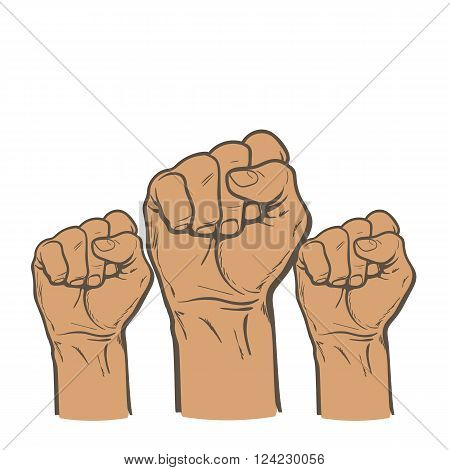 Raised fist. Strong fist on a white background. Mans hand. Male fist. Symbol of power and authority. Symbol of good luck and success. Fist icon. Painted vector fist. Fist sketch