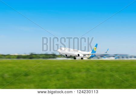 Ukraine, Borispol - MAY 22 : The plane takes off at the international airport Borispol on May 22, 2015 in Borispol, Ukraine