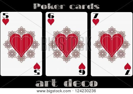 Poker Playing Card. 5 Heart. 6 Heart. 7 Heart. Poker Cards In The Art Deco Style. Standard Size Card