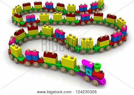 Wooden toy train. Colorful long wooden toy train on a white surface. Isolated. 3D Illustration