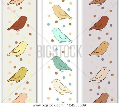 Vertical border with birds in neutral colors