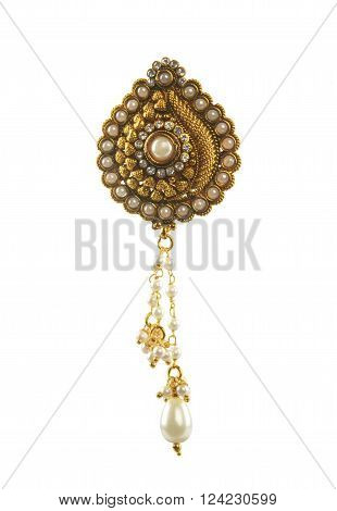 Indian Gold Traditional Pendant with White Pearl