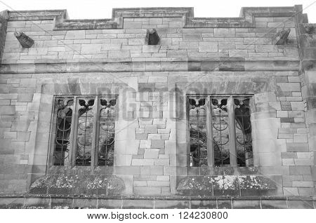 The exterior wall of a small family mausoleum in the grounds of Falkland estate