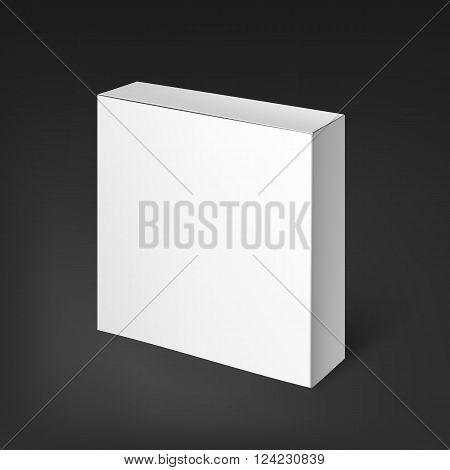 Blank template white realistic box ready for your design. The box is suitable for food, electronics, software, books, posting, household goods. Mockup Template. White Product Cardboard Package Box