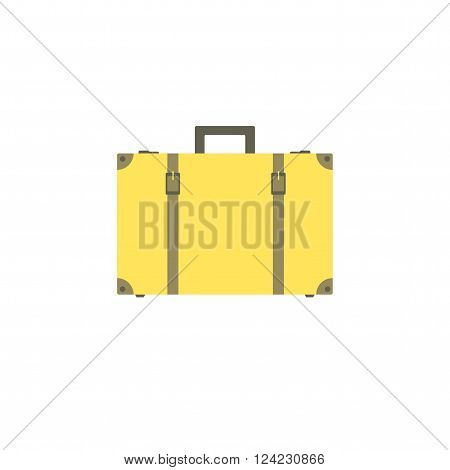 Yellow suitcase with buckles and straps isolated on white background. Suitcase for travel and business trips. Vector illustration.