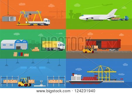 Set of flat vector web banners on the theme of logistics warehouse freight cargo transportation. Vector concept illustration