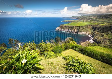 Green island in the Atlantic Ocean Sao Miguel Azores Portugal
