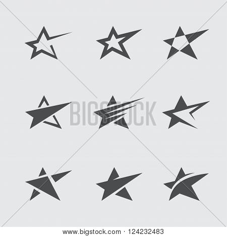 Set of black abstract star icons and symbols