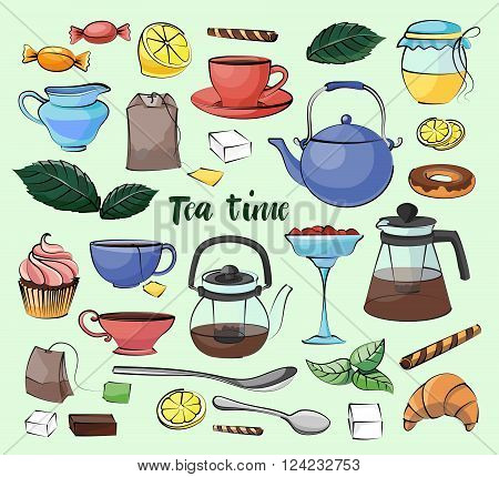 Tea Time Set. Hand drawn icons - Cups, mugs, teacups, teapots, saucer, spoon,  leafs, fruits cherry, strawberry,  cakes, croissant, pie, candy isolated on light background
