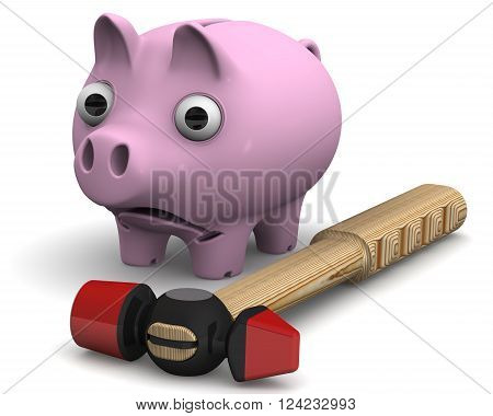 Piggy bank and hammer. Frightened piggy bank standing next to a hammer on a white surface. Isolated. 3D Illustration