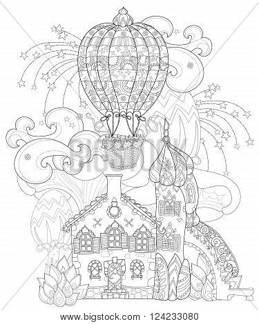 Vector cute fairy tale town doodle with mushrooms and balloon.Vector line illustration.Sketch for postcard or print or coloring adult book.Boho hand drawn style.Fantastic mystical city landscape
