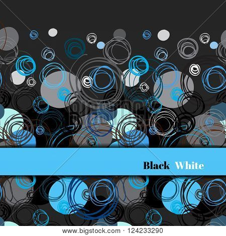 Abstract geometric background. Horizontal border stripe design. Black blue gray hand drawn intersecting outline circles elegant ornament in black blue background. Vector element of graphic design
