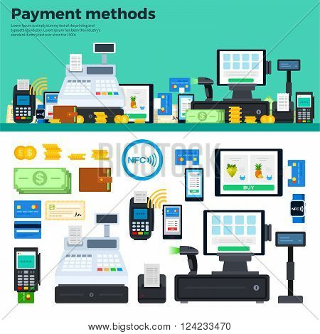 Payment methods vector flat illustration. Icons for ways of payment standing on the table. Different payment tools, cash, coins, computer, wallet, credit cards isolated on white background