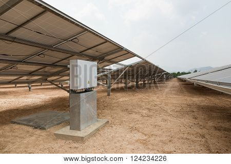 The Control Box Of Solar Farm For Green Energy In The Field