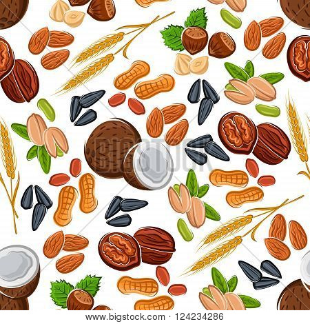 Wholesome nuts and seeds, legumes and cereal seamless pattern of almonds and hazelnuts, peanuts and pistachios, coconuts and walnuts, wheat ears and sunflower seeds