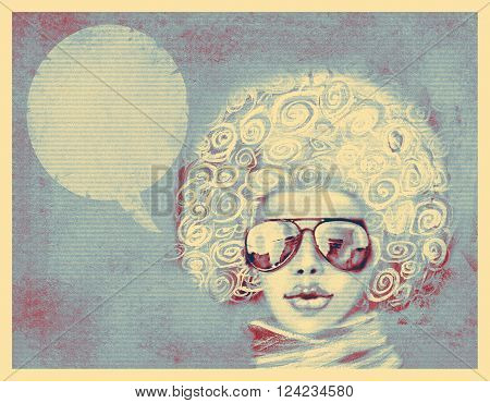 Fashionable woman with sunglasses and scarf. Shabby chic style portrait.