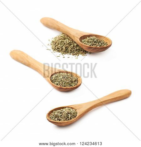 Wooden spoon full of dried rosmarinus seasoning isolated over the white background, set of three different foreshortenings