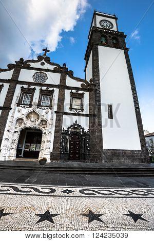 Tower of St. Sebastian church (Igreja Matriz de Sao Sebastiao) in Ponta Delgada San Miguel the Autonomous Region of the Azores Portugal.