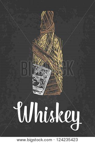 Whiskey bottle with glass ice cubes barrel cigar. Color hand drawn sketch on vintage black background. Vector engraved illustration