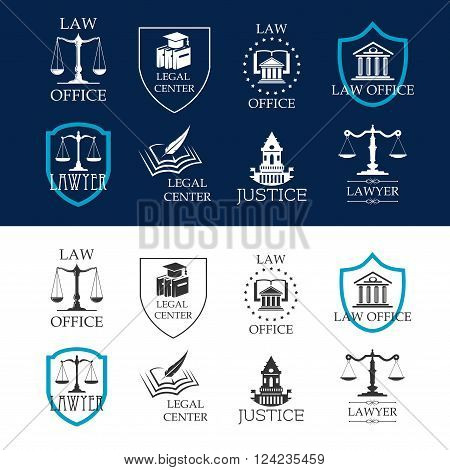 Lawyer and justice, law office and legal center icons with court buildings, scales of justice and law books framed by heraldic shields and stars