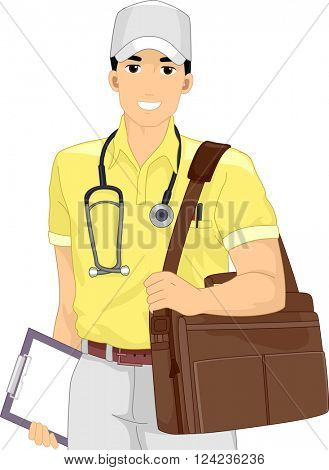 Illustration of a Male Doctor Out on a Medical Mission