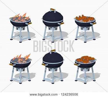 Barbecue. 3D lowpoly isometric vector illustration. The set of objects isolated against the white background and shown from two sides