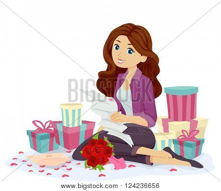 Illustration of a Teenage Girl Surrounded by Gifts Reading a Love Letter