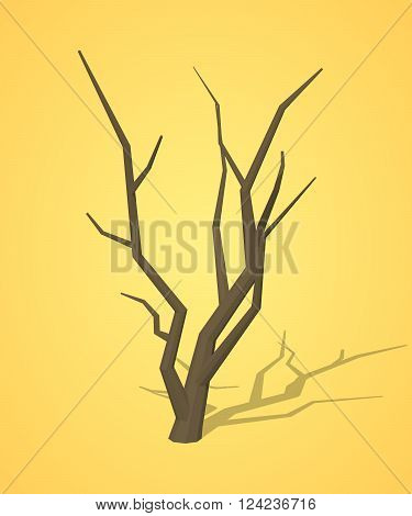 Dried tree against the yellow background. 3D lowpoly isometric vector illustration