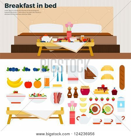 Breakfast in bed vector flat illustrations. Table with breakfast in the bedroom. Eating concept. Food, fruits, cakes, meat isolated on white background