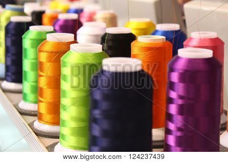 Colorful Embroidery Silk in a Embroidering Process
