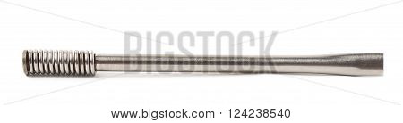 Steel bombilla drinking straw isolated over the white background