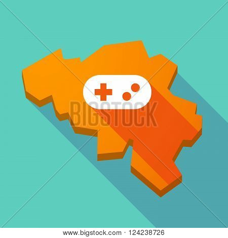 Long Shadow Map Of Belgium With A Game Pad