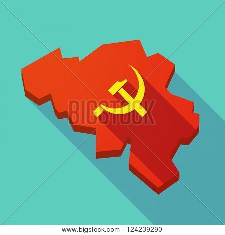 Long Shadow Map Of Belgium With  The Communist Symbol