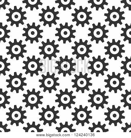 Black gears seamless pattern isolated on white. Wheels or cogs. Repeat texture. Infinite tiles. EPS 8 vector illustration no transparency