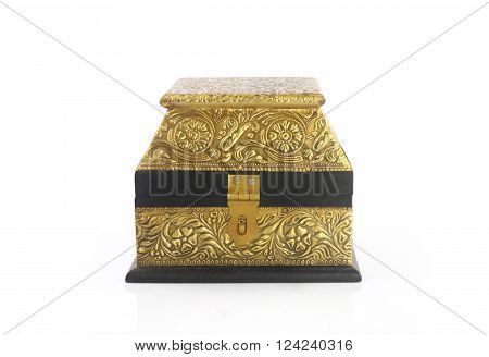 Vintage wooden Jewel Box Isolated on White